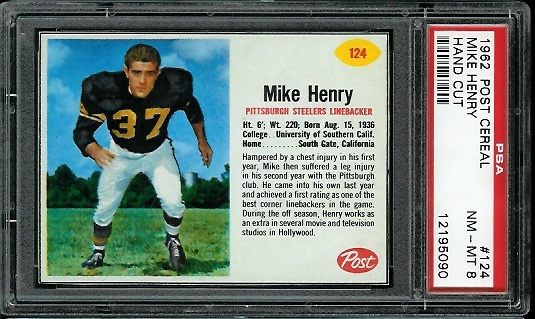1962 Post Cereal #124 - Mike Henry - PSA 8
