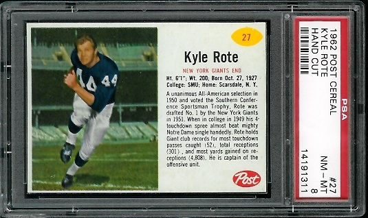 1962 Post Cereal #27 - Kyle Rote - PSA 8