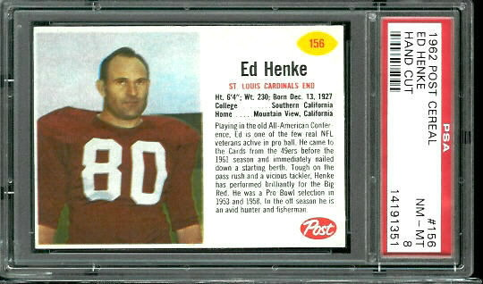 1962 Post Cereal #156 - Ed Henke - PSA 8