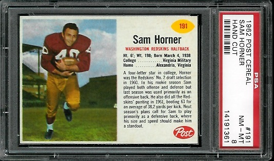1962 Post Cereal #191 - Sam Horner - PSA 8