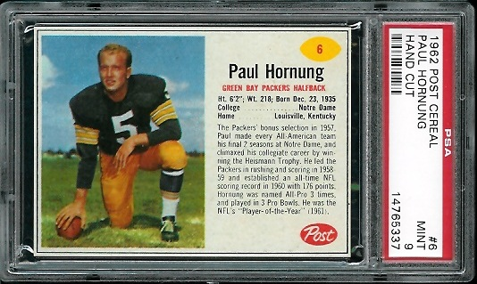 1962 Post Cereal #6 - Paul Hornung - PSA 9