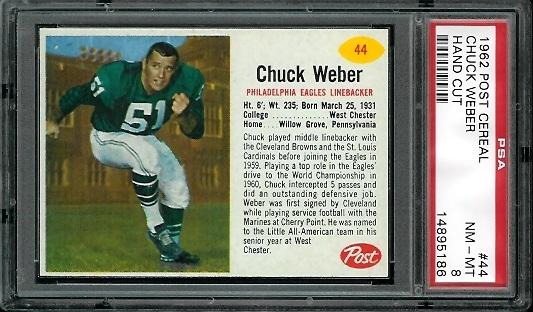 1962 Post Cereal #44 - Chuck Weber - PSA 8