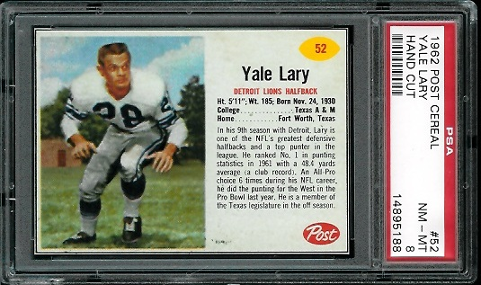 1962 Post Cereal #52 - Yale Lary - PSA 8