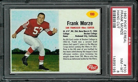 1962 Post Cereal #100 - Frank Morze - PSA 8
