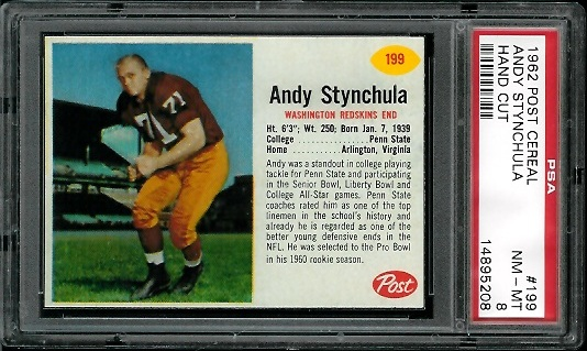 1962 Post Cereal #199 - Andy Stynchula - PSA 8