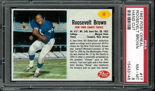 1962 Post Cereal #17 - Roosevelt Brown - PSA 8