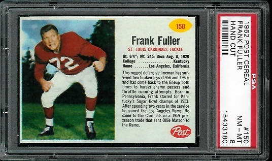 1962 Post Cereal #150 - Frank Fuller - PSA 8