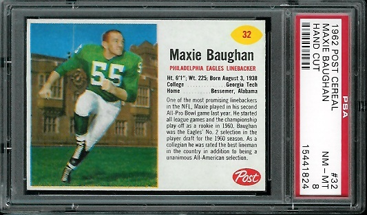 1962 Post Cereal #32 - Maxie Baughan - PSA 8