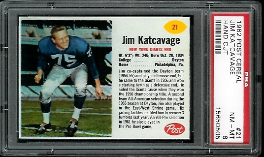 1962 Post Cereal #21 - Jim Katcavage - PSA 8