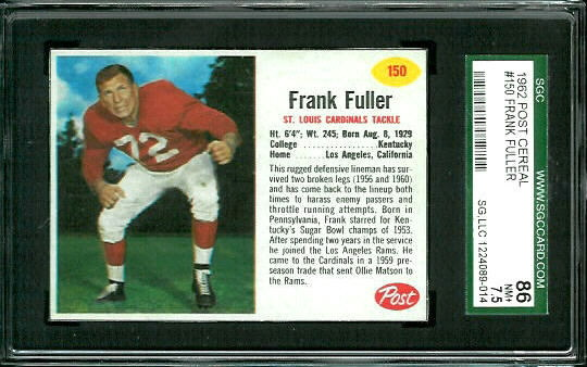 1962 Post Cereal #150 - Frank Fuller - SGC 86