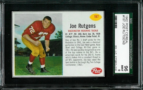 1962 Post Cereal #197 - Joe Rutgens - SGC 96