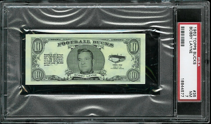 1962 Topps Bucks #35 - Bobby Layne - PSA 7
