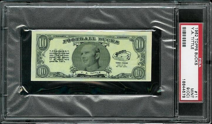 1962 Topps Bucks #11 - Y.A. Tittle - PSA 9 oc