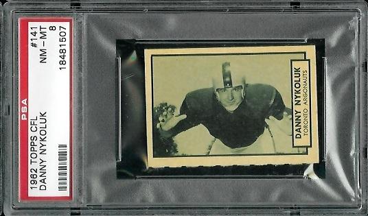 1962 Topps CFL #141 - Danny Nykoluk - PSA 8