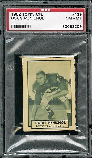 1962 Topps CFL #139 - Doug McNichol - PSA 8