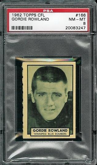1962 Topps CFL #166 - Gord Rowland - PSA 8