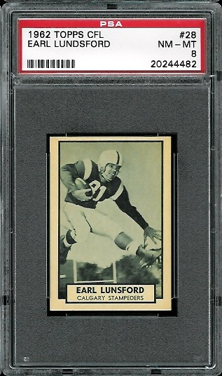 1962 Topps CFL #28 - Earl Lunsford - PSA 8