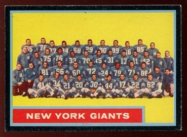 1962 Topps #114 - New York Giants Team - exmt