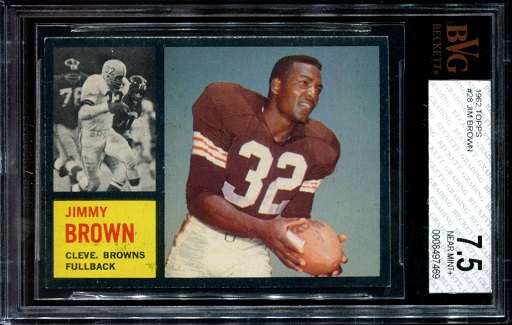 1962 Topps #28 - Jim Brown - BVG 7.5