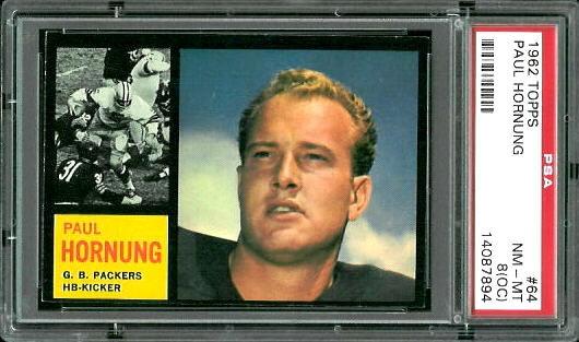 1962 Topps #64 - Paul Hornung - PSA 8 oc