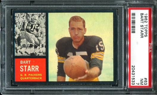 1962 Topps #63 - Bart Starr - PSA 7