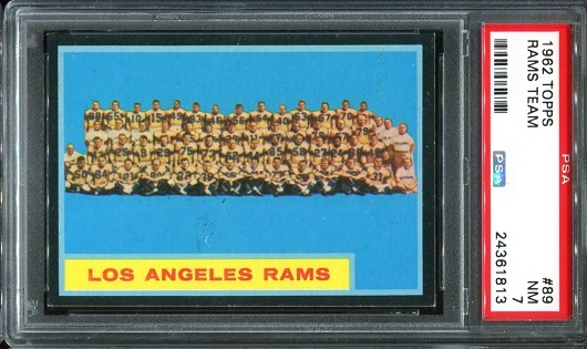 1962 Topps #89 - Los Angeles Rams Team - PSA 7