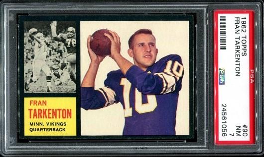 1962 Topps #90 - Fran Tarkenton - PSA 7