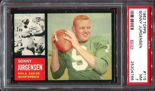 1962 Topps #115 - Sonny Jurgensen - PSA 7