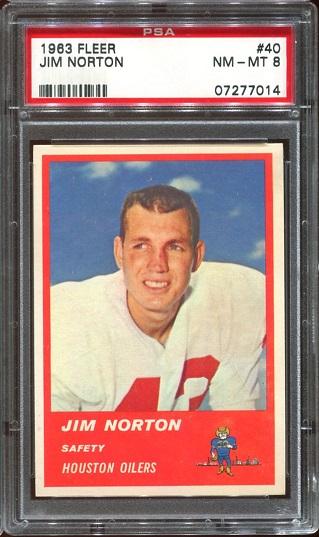 1963 Fleer #40 - Jim Norton - PSA 8