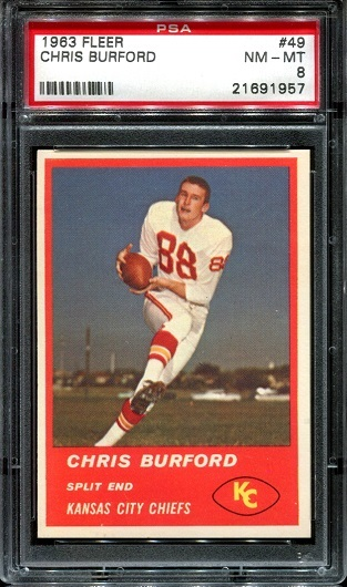 1963 Fleer #49 - Chris Burford - PSA 8