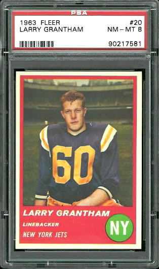 1963 Fleer #20 - Larry Grantham - PSA 8
