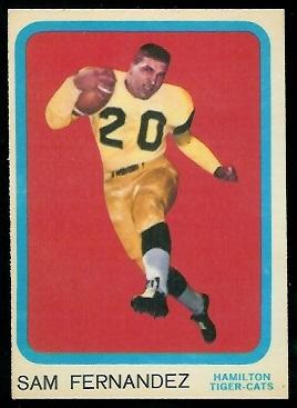 1963 Topps CFL #33 - Sam Fernandez - exmt