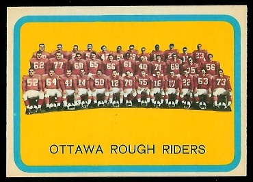 1963 Topps CFL #58 - Ottawa Rough Riders Team - nm+