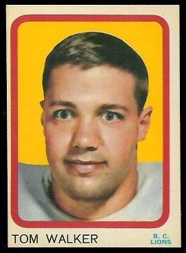 1963 Topps CFL #6 - Tom Walker - exmt