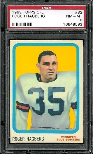 1963 Topps CFL #82 - Roger Hagberg - PSA 8