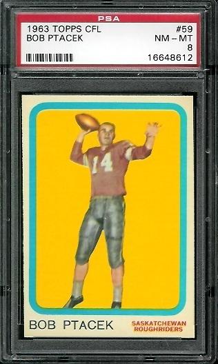 1963 Topps CFL #59 - Bob Ptacek - PSA 8