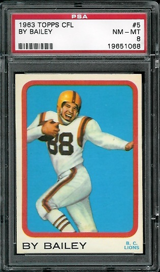 1963 Topps CFL #5 - By Bailey - PSA 8
