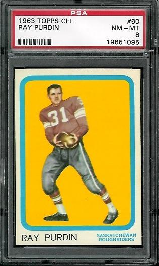 1963 Topps CFL #60 - Ray Purdin - PSA 8