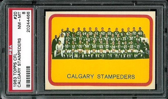 1963 Topps CFL #20 - Calgary Stampeders Team - PSA 8