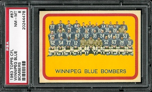 1963 Topps CFL #87 - Winnipeg Blue Bombers Team - PSA 8