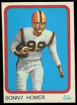 1963 Topps CFL #7 - Sonny Homer - exmt