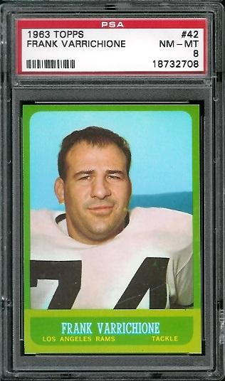 1963 Topps #42 - Frank Varrichione - PSA 8