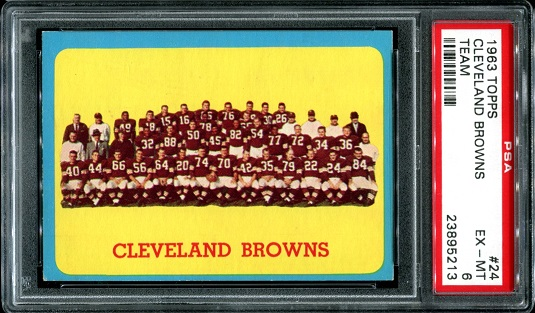 1963 Topps #24 - Cleveland Browns Team - PSA 6