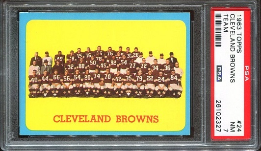1963 Topps #24 - Cleveland Browns Team - PSA 7