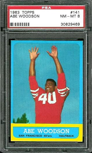 1963 Topps #141 - Abe Woodson - PSA 8