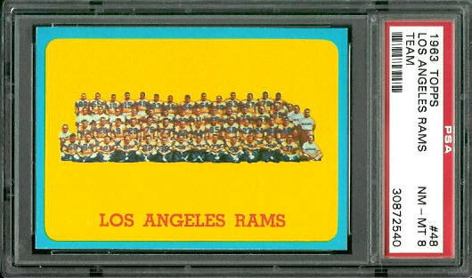 1963 Topps #48 - Los Angeles Rams Team - PSA 8
