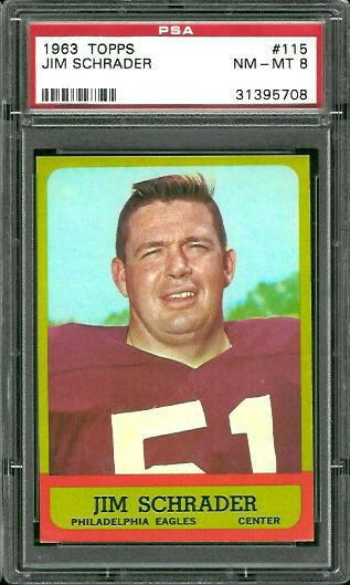 1963 Topps #115 - Jim Schrader - PSA 8