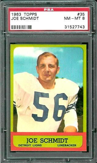 1963 Topps #35 - Joe Schmidt - PSA 8
