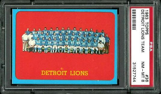 1963 Topps #36 - Detroit Lions Team - PSA 8