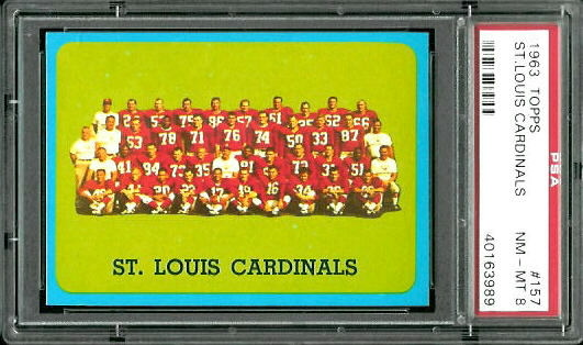 1963 Topps #157 - St. Louis Cardinals Team - PSA 8